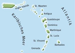 Kleine Antillen Karte.Karibiktorn Mitsegeln Karibik Segelreise Karibik